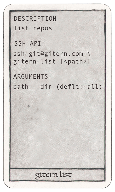 gitern list ssh api
